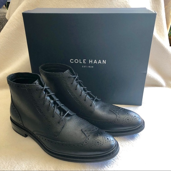 17a4e66abdc6 Cole Haan Pebbled Leather Brogue Wingtip Boots